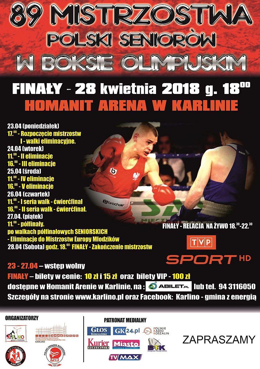 Indywidualne Misrtrzostwa Seniorów w Boksie 22-28 kwietnia 2018 Karlino Hala Homanit