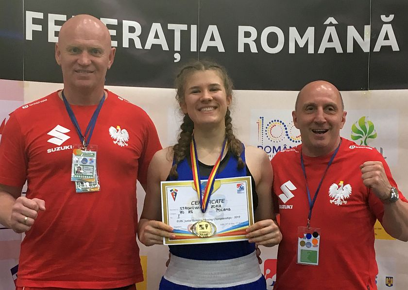 Złoty medal Mistrzostw Europy w Boksie - Zofia Stachowiak z trenerem Winiarskim i Góreckim
