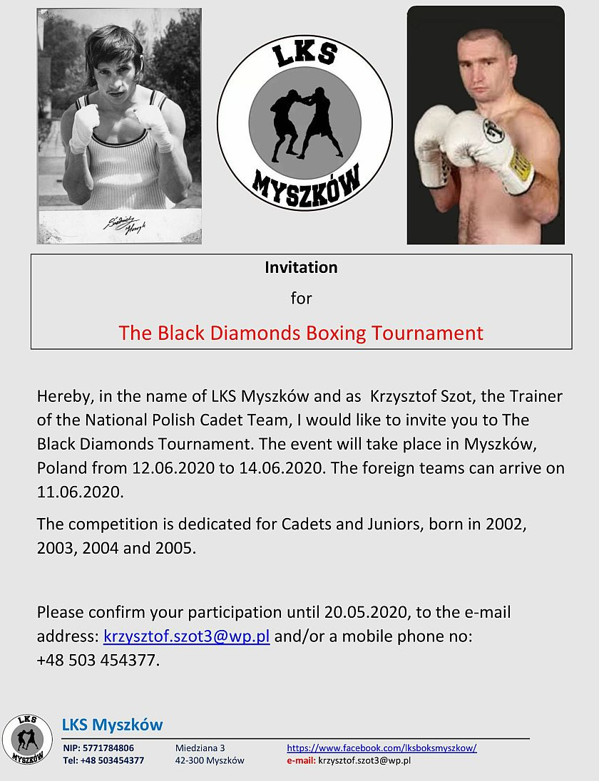 Zaproszenie na Międzynarodowy Turniej O Czarne Diamenty do Myszkowa